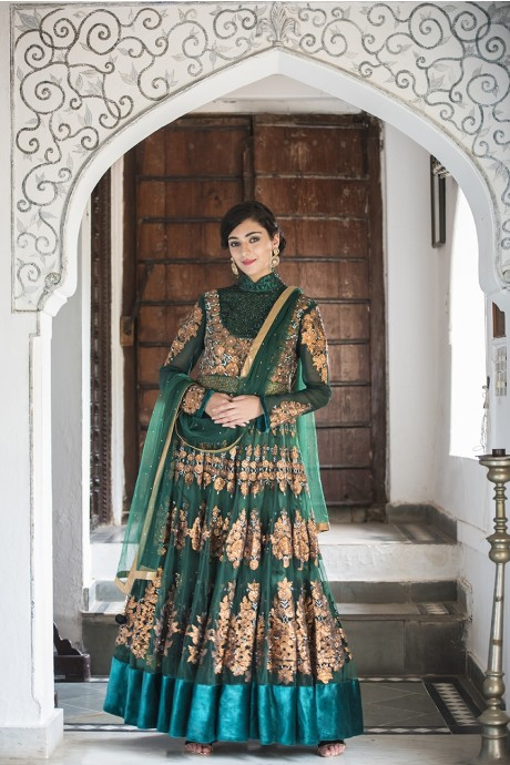 Emerald Anarkali with Bronze Embroidery