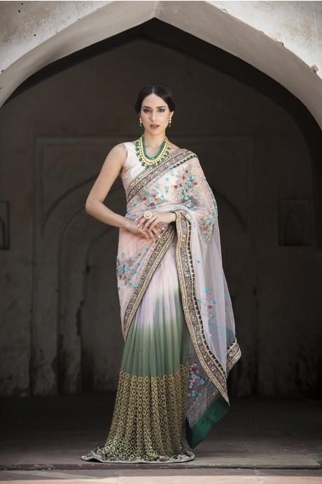 Ombré Pearl Blossom Sari