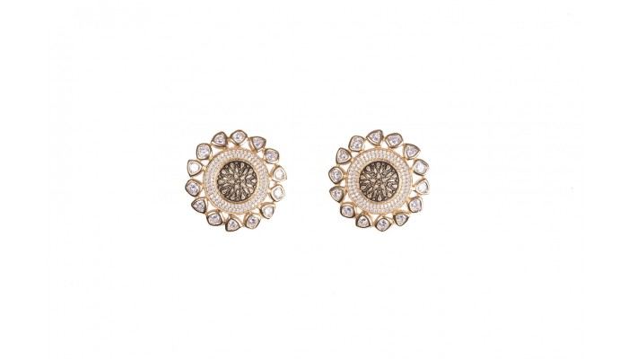 Crystal Ring Golden Stud Earrings