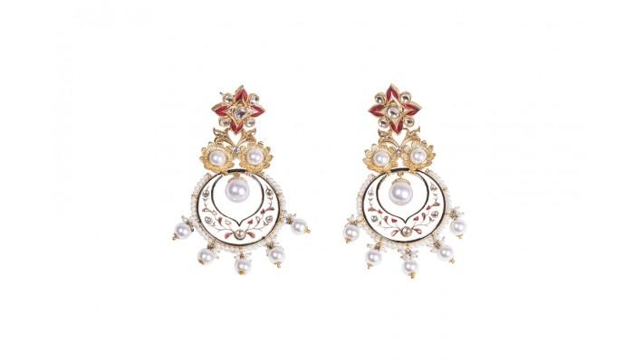 Saffron Pearl Statement Earrings