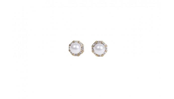 Octagonal Pearl Stud Earrings
